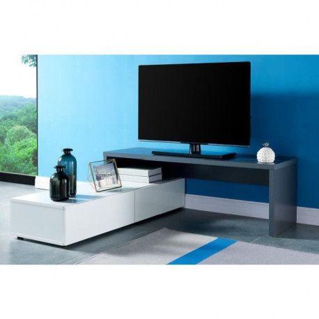 floyd meuble tv extensible contemporain gris et blanc brillant l 120 233 cm