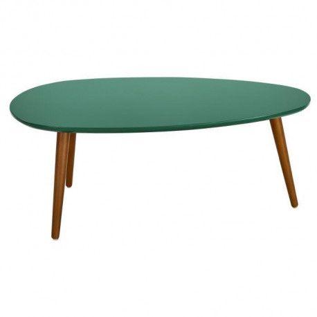 stone table basse ovale scandinave vert foret laque l 88 x l 48 cm