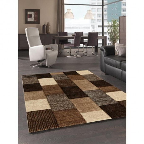 belis tapis de salon 160x230 cm marron beige et gris