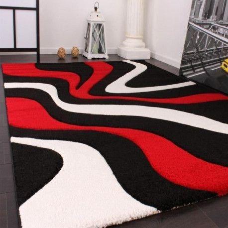 diamond vagues tapis de salon 160x230 cm rouge noir et blanc