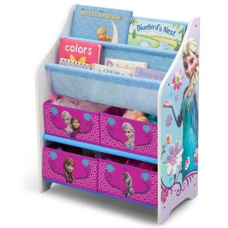 la reine des neiges meuble enfant de rangement jouets livres en bois rose et