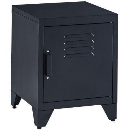 camden table de chevet style industriel en metal laque noir a 2 niveaux l 40 cm
