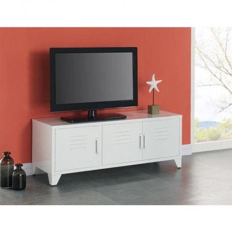 camden meuble tv industriel en metal blanc laque l 120 cm
