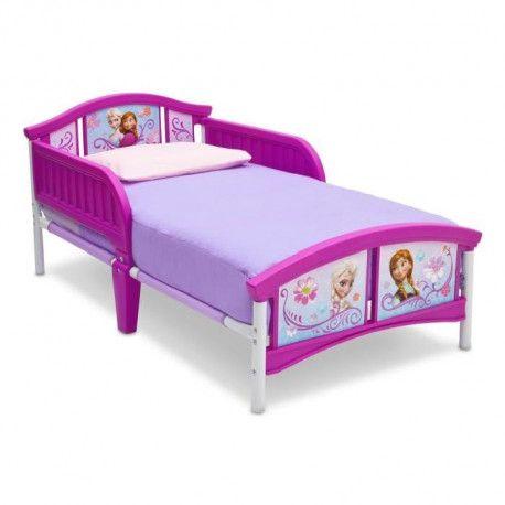la reine des neiges lit enfant en metal et plastique blanc et violet 70 x 140 cm