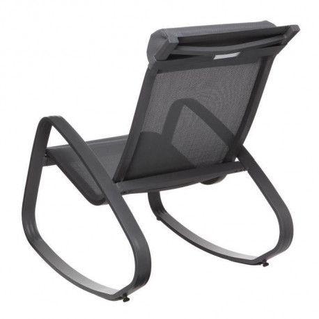 kd fauteuil relax de jardin a bascule en aluminium et textilene 61x90x87 cm gris fonce
