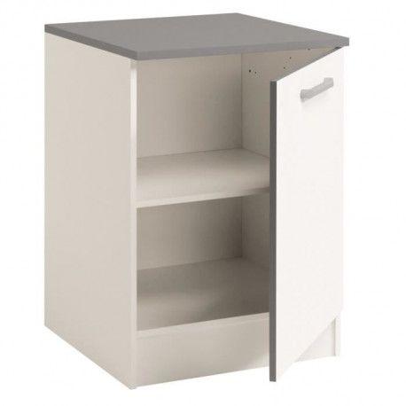 cook meuble bas de cuisine 60 cm avec plan de travail inclus decor blanc