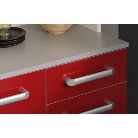 cook meuble bas de cuisine 60 cm avec plan de travail inclus decor rouge