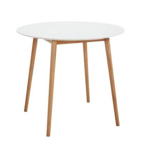 babette table a manger ronde de 2 a 4 personnes scandinave blanc laque satine pieds