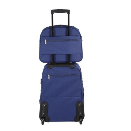 tantine et compagnie set valise vanity souple 2 roues 50 34cm marine vert et bleu