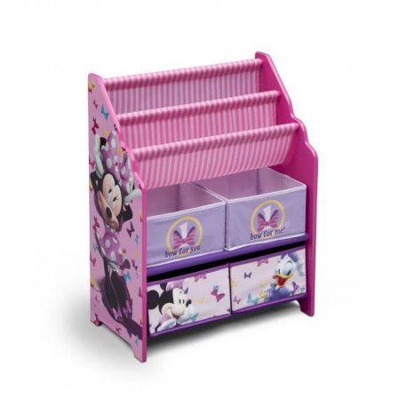 minnie meuble enfant de rangement jouets livres en bois rose et multicolore fille