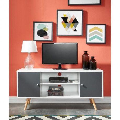 babette meuble tv scandinave pieds en bois gris fonce et blanc l 116 cm
