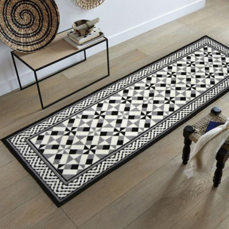 utopia tapis de couloir carreaux de ciment noir gris et blanc 67x180 cm