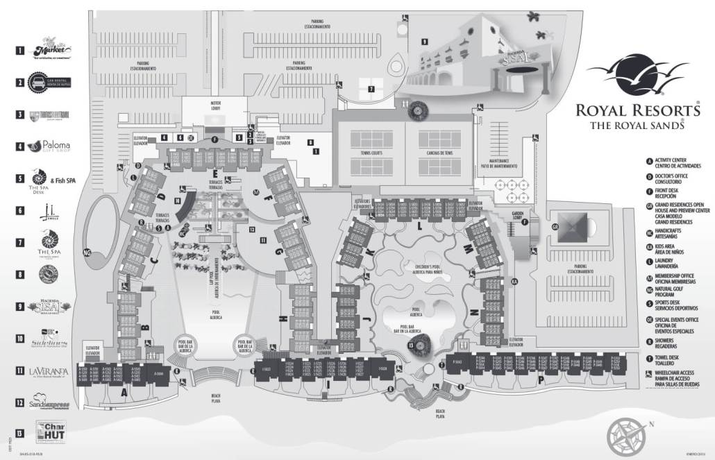 The Royal Sands resort map and room locations