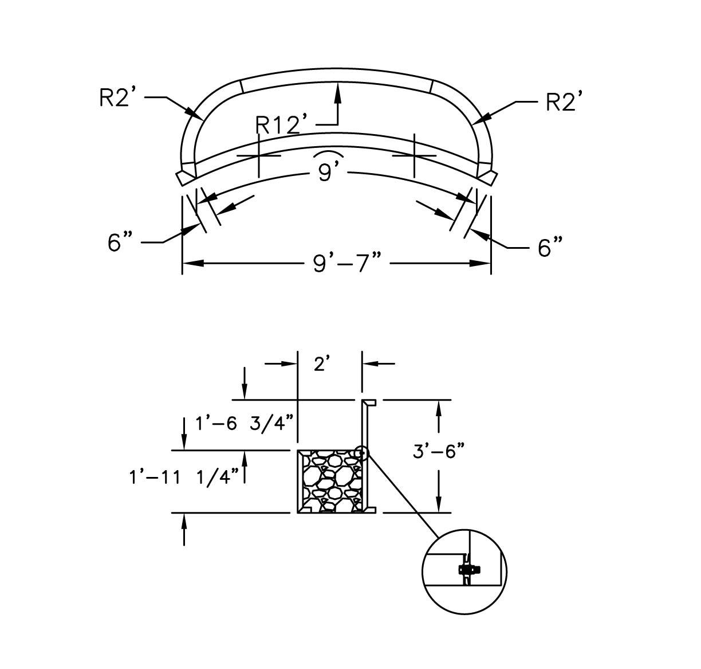 10 Radius Poured Bench W Liner Track