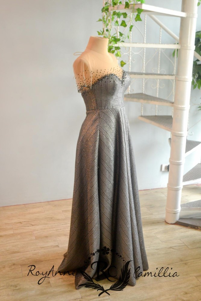 silver rental gown \