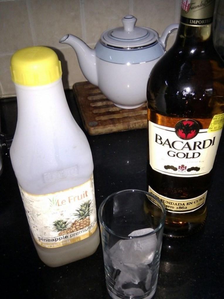 Dark Barcardi Rum & Fresh Pineapple Juice