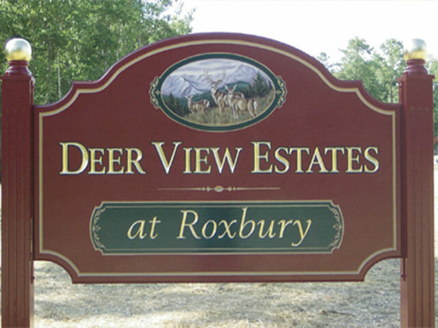 Carved Sign for Deer View Estates at Roxbury