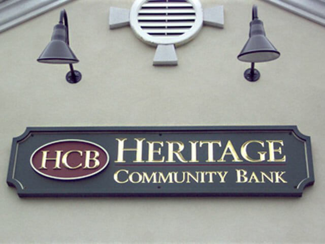 Carved Sign for Heritage Community Bank