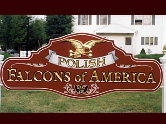 Carved Sign for Polish Falcons of America