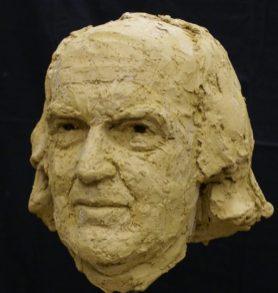 portret hoofd van klei