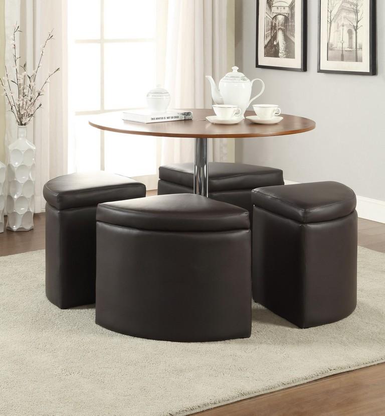 Round Leather Storage Ottoman Coffee Table