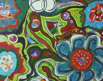 Garden. Mixed media. abstract, flowers,