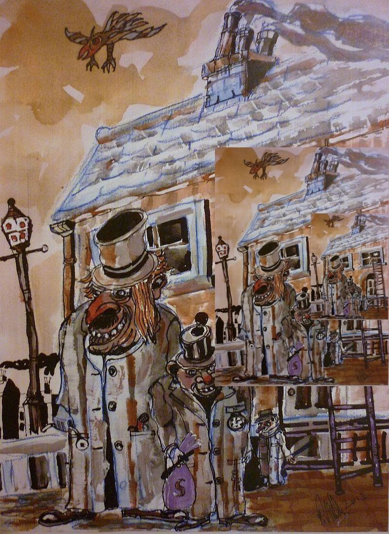 Burglars, robbers, thiefs. Watercolour painting.