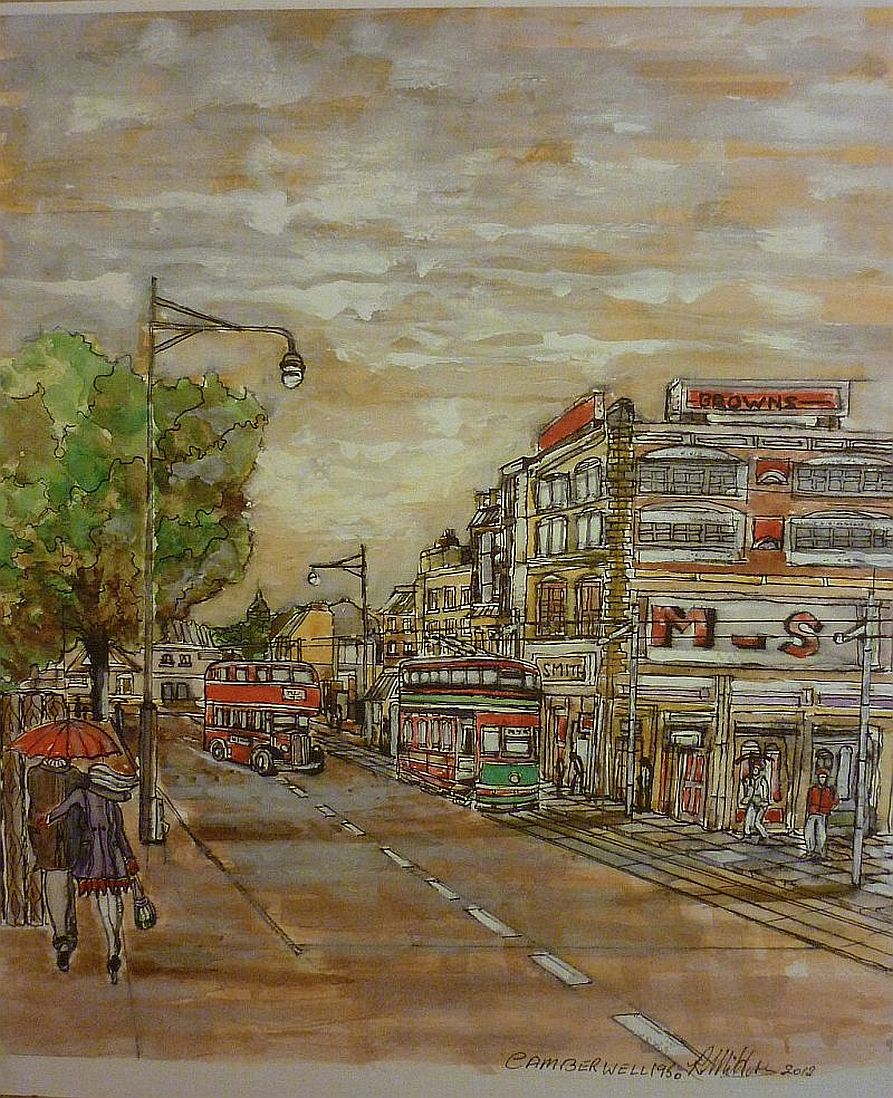 Camberwell Tram, high street, watercolour painting