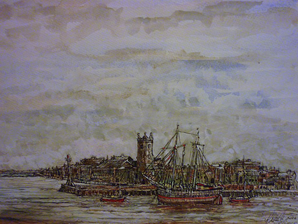 Old Cromer with Rigger, watercolour