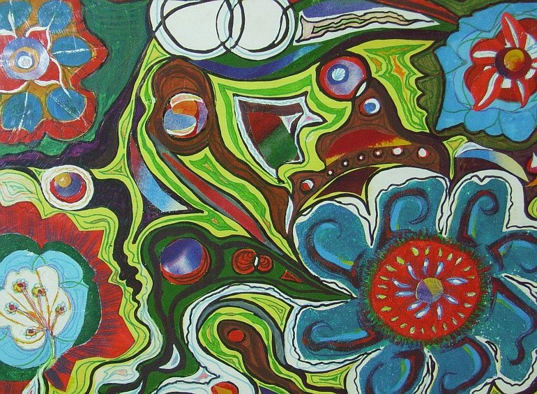 Abstract Garden. Watercolour. Acrylic. 2011