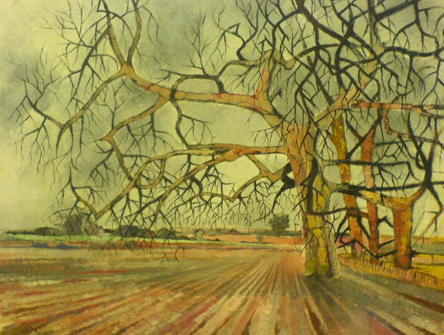 Wanstead Flats, Oil paint, oil, expressionist, fields,