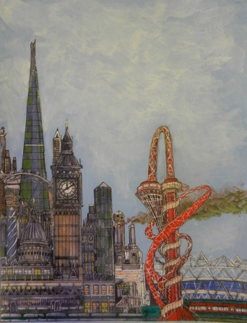 London Iconic Buildings. Acrylic.