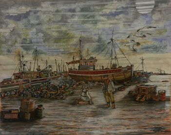 Fishing Boats, Fishermen, Acrylic, painting, lobsters, norfolk,