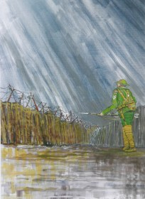 WW1. Mixed media. soldier, world war, painting,