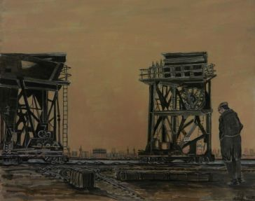 Dagenham Docks, Mixed media, cranes,