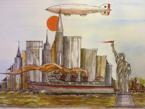 New York (with Statue of Liberty, Zeppelin and Steam Ship). Acrylic.
