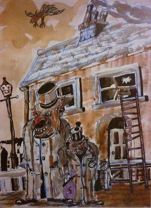 Burglars. Acrylic and Watercolour.