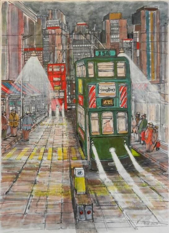 Hong Kong Trams painting,
