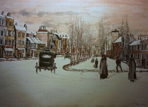 Victorian London Snow Scene. Watercolour.
