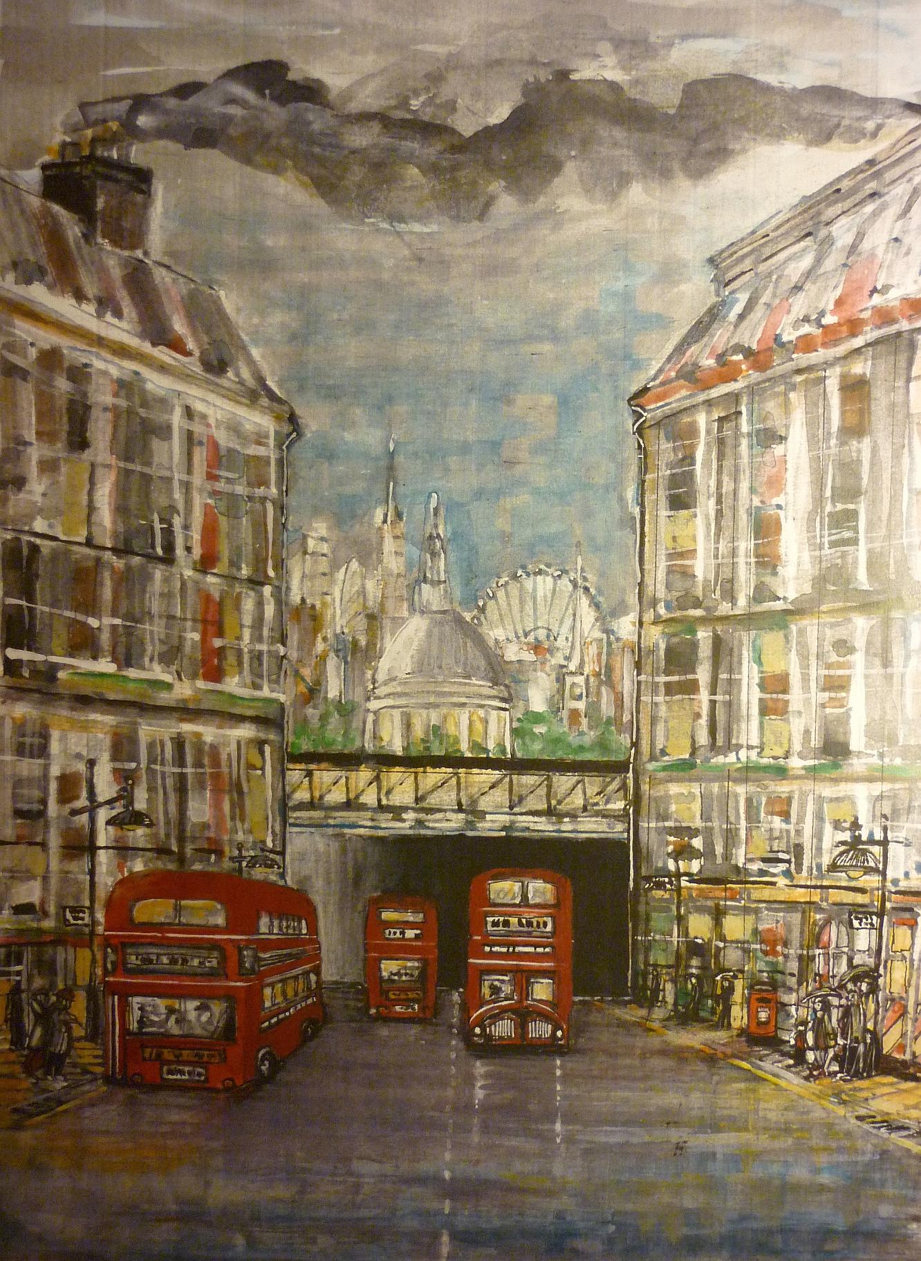 London City, Fleet Street, bridge, routemaster, bus,rain in london,