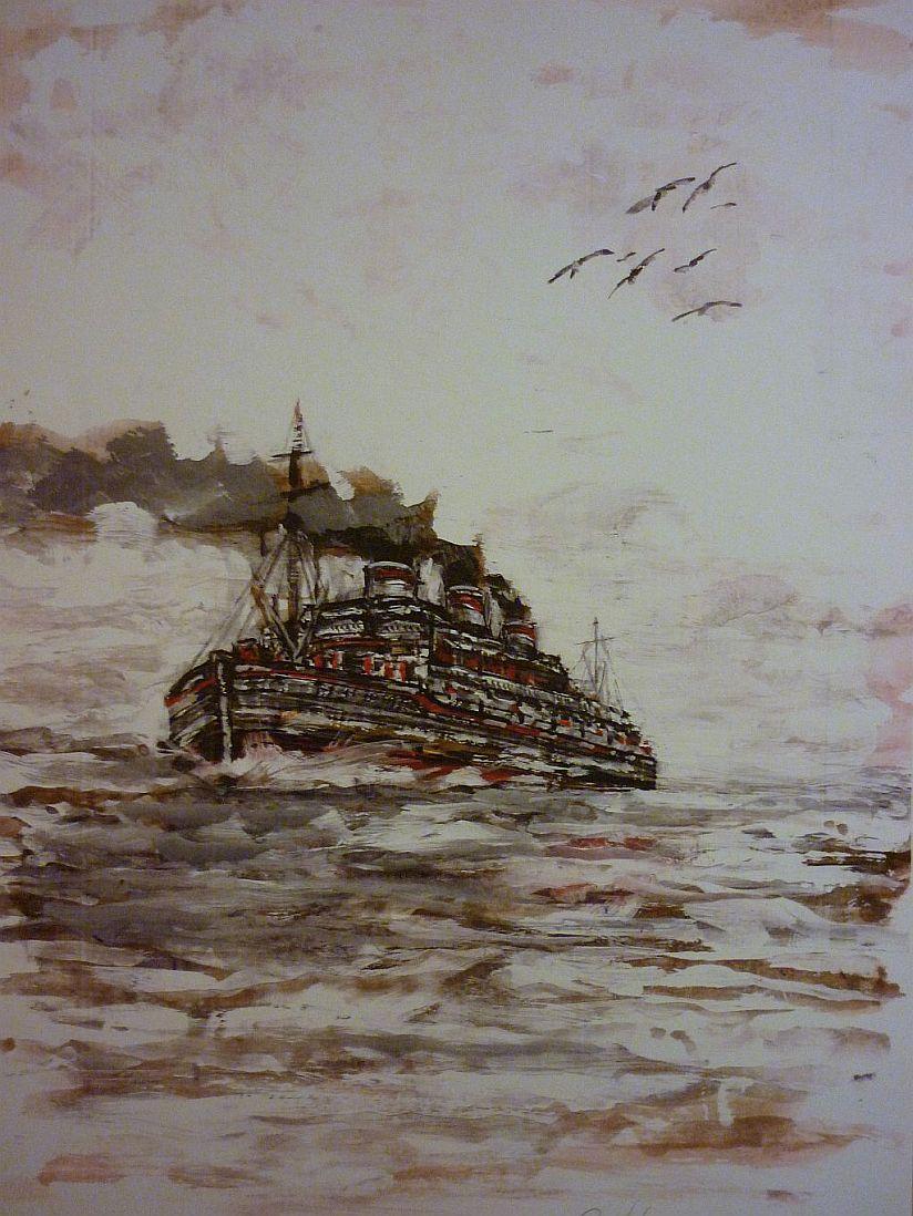 Steam Ship, chanel, sea,