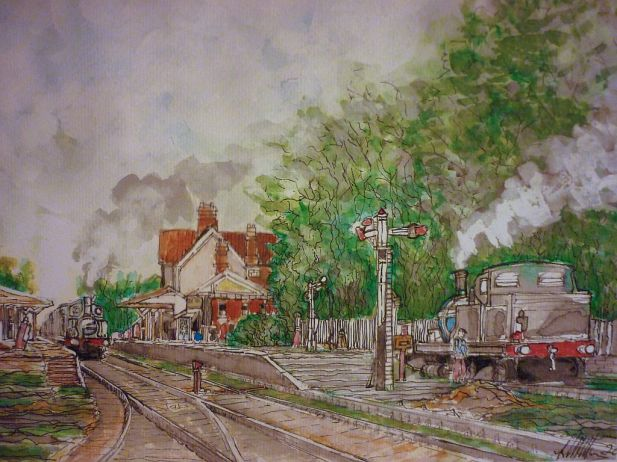 Steam_Train_Sheringham, watercolour, painting,