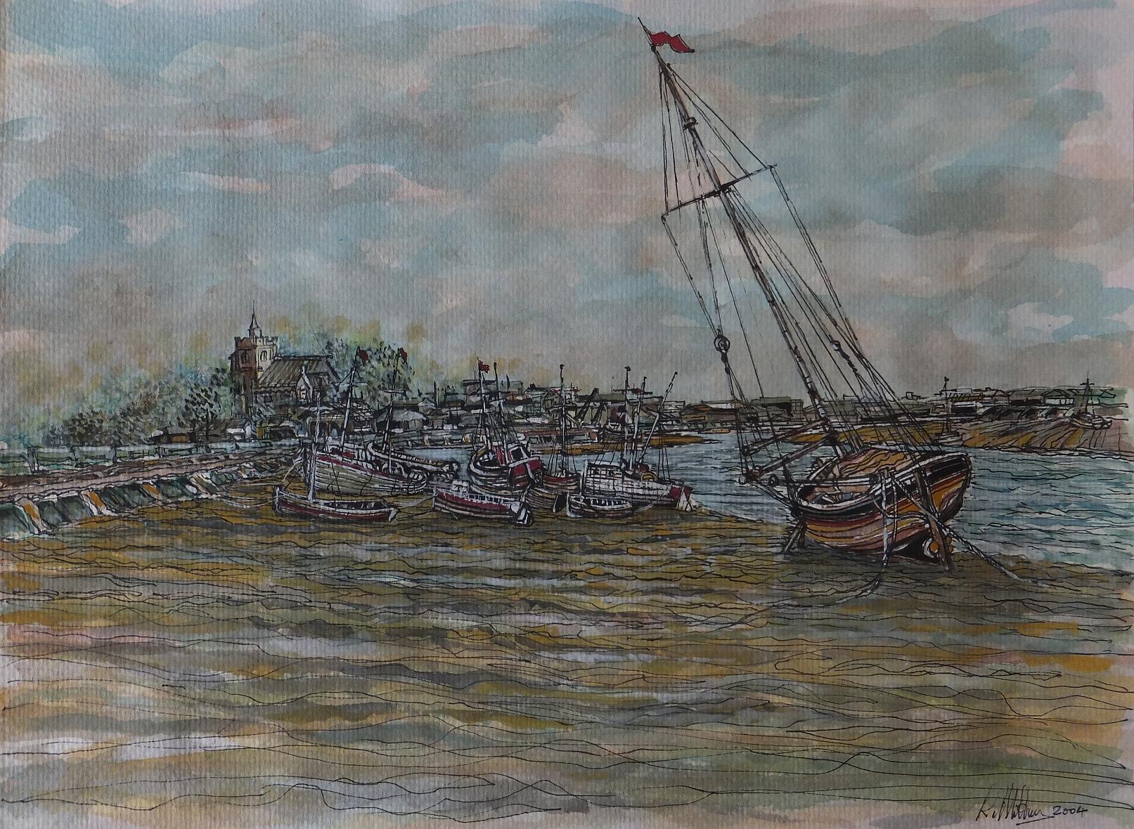 hastings, all saints church, watercolour, yacht,