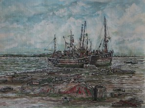 Resting Boats. fishing boats,Watercolour,