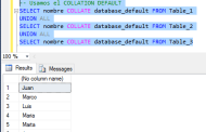 Conflicto con Collation en consultas utilizando UNION ALL en SQL Server