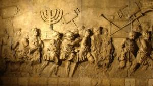 Łupy ze zdobytej Jerozolimy niesione w czasie tryumfu Tytusa i jego ojca, Wespazjana