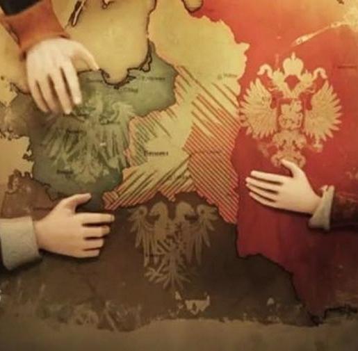 Grafika przedstawiająca jak trzy państwa zabierają polskie terytorium.