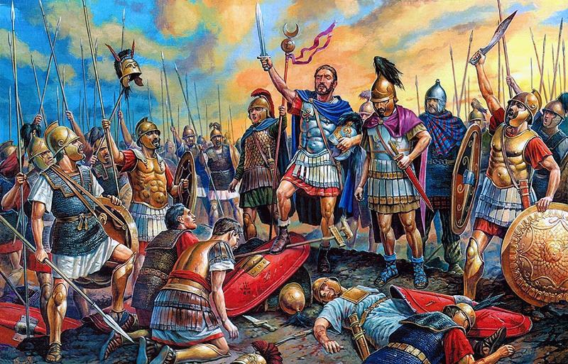 Hannibal przyjmujący poddanie się Rzymian.