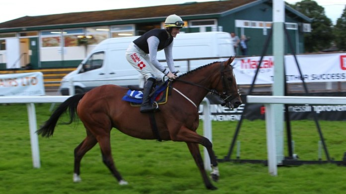 Sam Twiston-Davies celebrates a walkover victory with Moulin De La Croix at Worcester in 2012