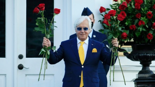 Bob Baffert celebrates his sixth win in the Kentucky Derby, the Run For The Roses